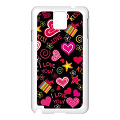 Love Hearts Sweet Vector Samsung Galaxy Note 3 N9005 Case (White)