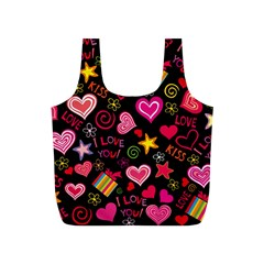 Love Hearts Sweet Vector Full Print Recycle Bags (s)