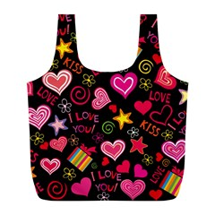 Love Hearts Sweet Vector Full Print Recycle Bags (L)