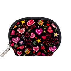 Love Hearts Sweet Vector Accessory Pouches (Small)