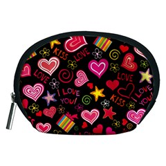 Love Hearts Sweet Vector Accessory Pouches (Medium)