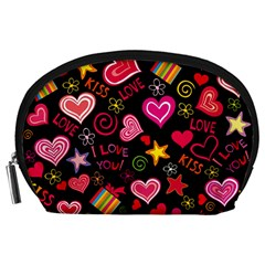 Love Hearts Sweet Vector Accessory Pouches (Large)