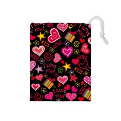 Love Hearts Sweet Vector Drawstring Pouches (Medium)