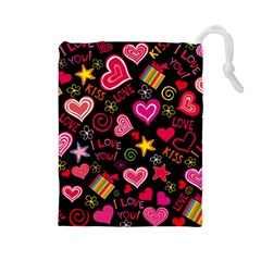 Love Hearts Sweet Vector Drawstring Pouches (Large)