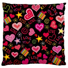 Love Hearts Sweet Vector Large Flano Cushion Case (Two Sides)