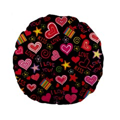 Love Hearts Sweet Vector Standard 15  Premium Flano Round Cushions