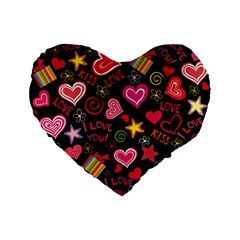 Love Hearts Sweet Vector Standard 16  Premium Flano Heart Shape Cushions