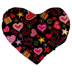 Love Hearts Sweet Vector Large 19  Premium Flano Heart Shape Cushions