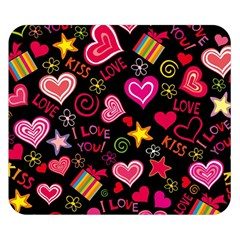 Love Hearts Sweet Vector Double Sided Flano Blanket (Small)