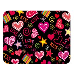 Love Hearts Sweet Vector Double Sided Flano Blanket (Large)