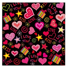 Love Hearts Sweet Vector Large Satin Scarf (Square)
