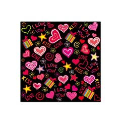 Love Hearts Sweet Vector Satin Bandana Scarf