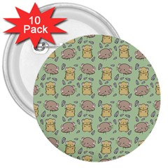 Cute Hamster Pattern 3  Buttons (10 Pack)