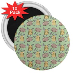Cute Hamster Pattern 3  Magnets (10 Pack)