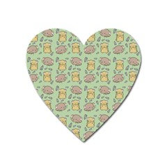 Cute Hamster Pattern Heart Magnet