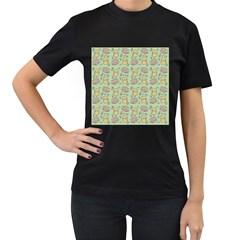 Cute Hamster Pattern Women s T-Shirt (Black) (Two Sided)