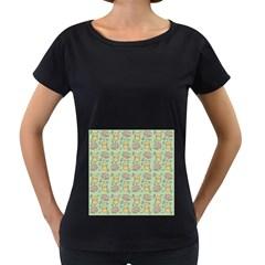 Cute Hamster Pattern Women s Loose Fit T Shirt (black)