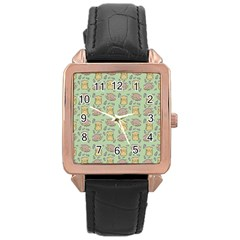 Cute Hamster Pattern Rose Gold Leather Watch