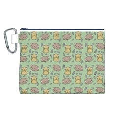 Cute Hamster Pattern Canvas Cosmetic Bag (L)