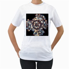 Science Fiction Background Fantasy Women s T-Shirt (White) (Two Sided)