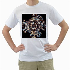 Science Fiction Background Fantasy Men s T-Shirt (White) (Two Sided)