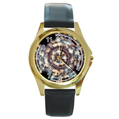Science Fiction Background Fantasy Round Gold Metal Watch