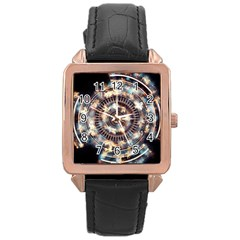 Science Fiction Background Fantasy Rose Gold Leather Watch