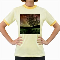 Sky Landscape Nature Clouds Women s Fitted Ringer T-Shirts