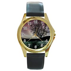 Sky Landscape Nature Clouds Round Gold Metal Watch
