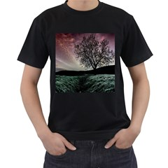 Sky Landscape Nature Clouds Men s T Shirt (black) (two Sided)