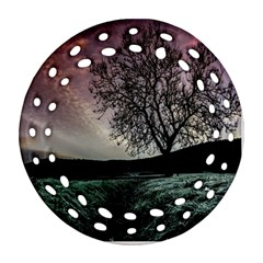 Sky Landscape Nature Clouds Round Filigree Ornament (two Sides)
