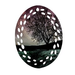 Sky Landscape Nature Clouds Oval Filigree Ornament (Two Sides)