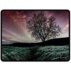 Sky Landscape Nature Clouds Double Sided Fleece Blanket (large)