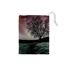 Sky Landscape Nature Clouds Drawstring Pouches (small)