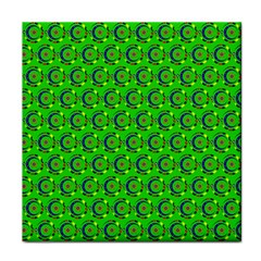 Green Abstract Art Circles Swirls Stars Tile Coasters