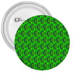Green Abstract Art Circles Swirls Stars 3  Buttons