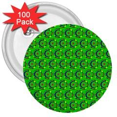 Green Abstract Art Circles Swirls Stars 3  Buttons (100 Pack)