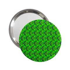 Green Abstract Art Circles Swirls Stars 2.25  Handbag Mirrors