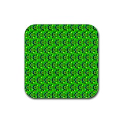 Green Abstract Art Circles Swirls Stars Rubber Square Coaster (4 Pack)