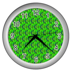 Green Abstract Art Circles Swirls Stars Wall Clocks (Silver)