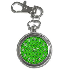 Green Abstract Art Circles Swirls Stars Key Chain Watches