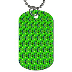 Green Abstract Art Circles Swirls Stars Dog Tag (one Side)