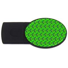 Green Abstract Art Circles Swirls Stars USB Flash Drive Oval (1 GB)