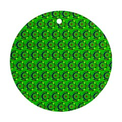 Green Abstract Art Circles Swirls Stars Round Ornament (two Sides)