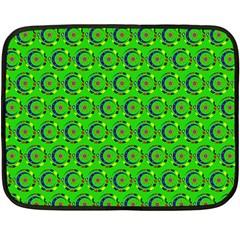 Green Abstract Art Circles Swirls Stars Double Sided Fleece Blanket (mini)