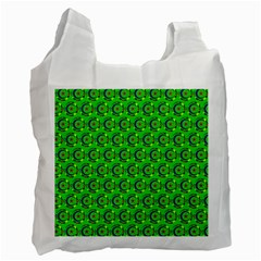 Green Abstract Art Circles Swirls Stars Recycle Bag (two Side)
