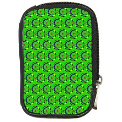 Green Abstract Art Circles Swirls Stars Compact Camera Cases