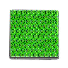 Green Abstract Art Circles Swirls Stars Memory Card Reader (square)