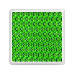 Green Abstract Art Circles Swirls Stars Memory Card Reader (square)