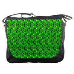 Green Abstract Art Circles Swirls Stars Messenger Bags